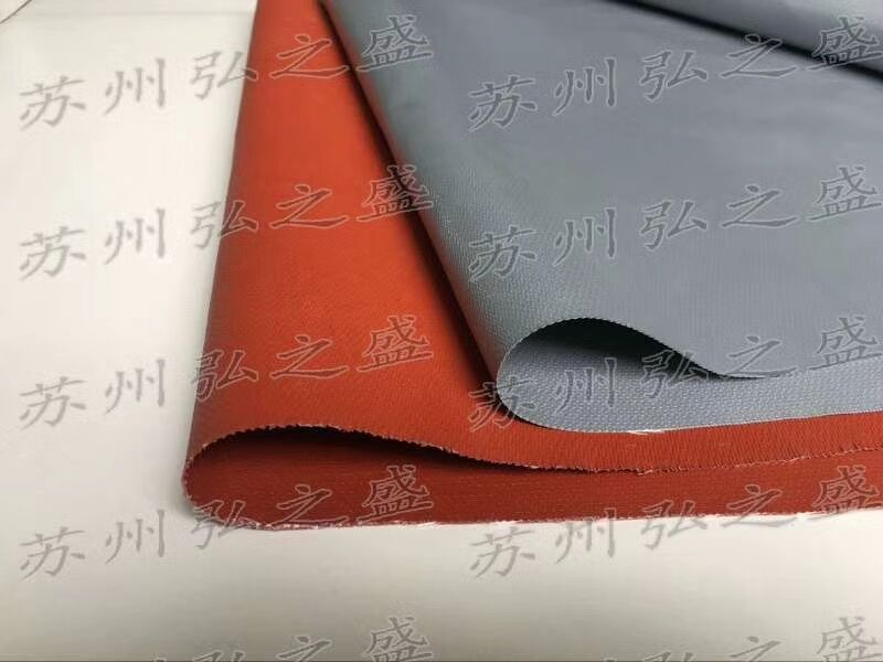 银灰色防火硅胶布 挡烟垂壁布
